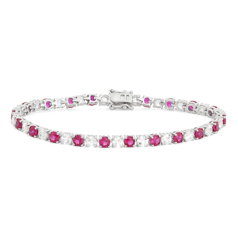 Created Ruby & White Sapphire Gemstone Tennis Bracelet in Sterling Silver