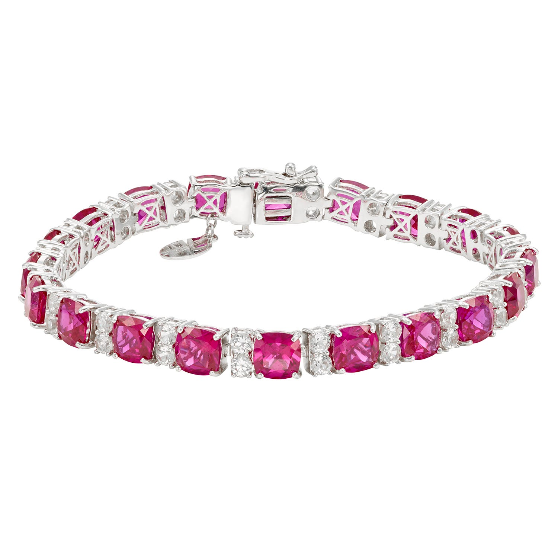 Created Ruby & White Sapphire Gemstone Princess-Cut Tennis Bracelet in Sterling Silver