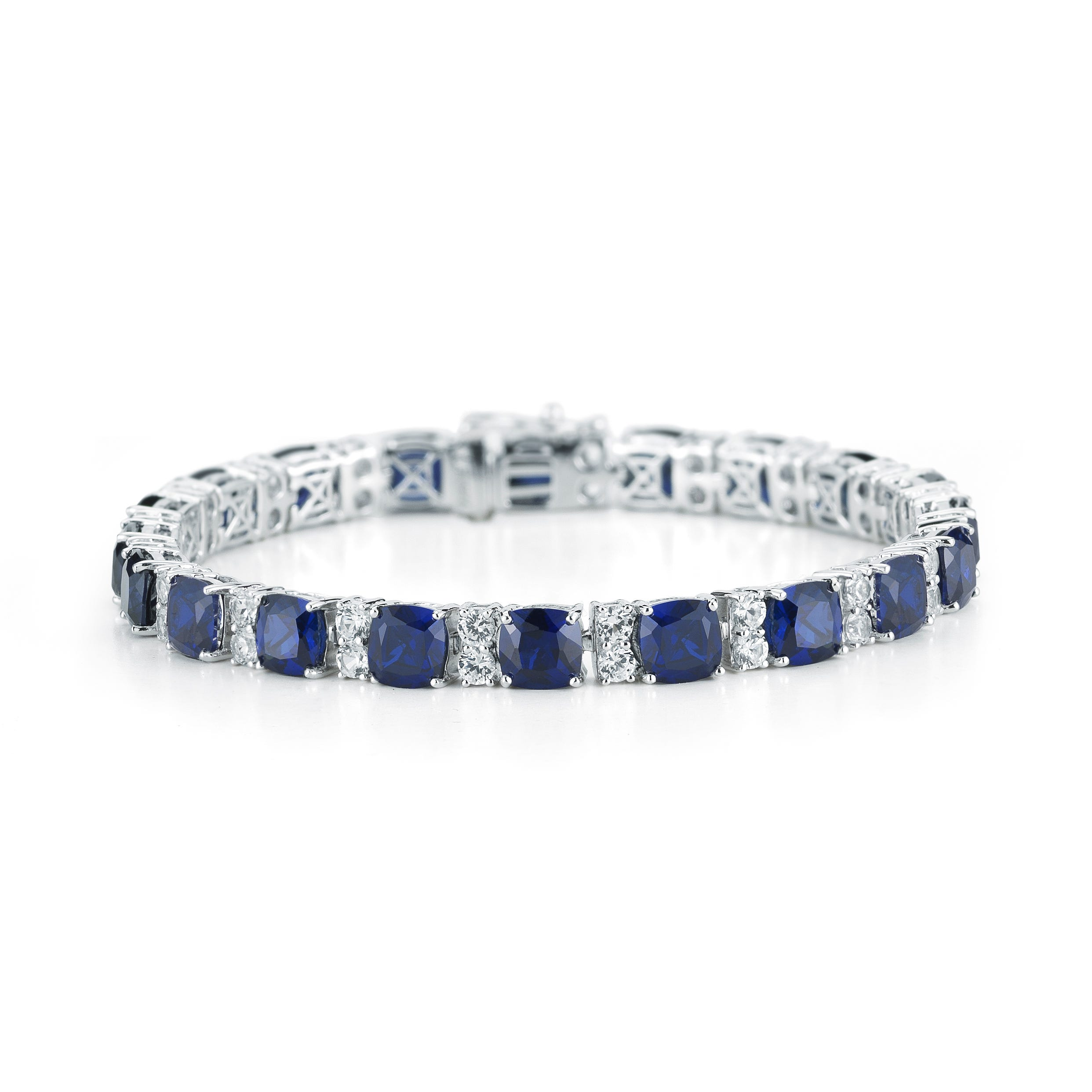 Created Blue & White Sapphire Tennis Bracelet in Sterling Silver