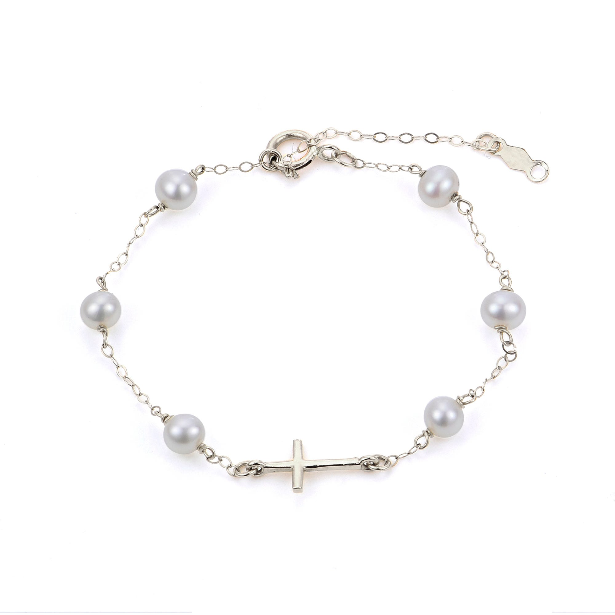 Freshwater Pearl Children's Cross Bracelet in Sterling Silver
