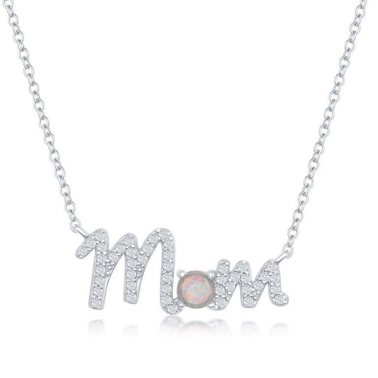Created Opal & CZ Mom Pendant in Sterling Silver