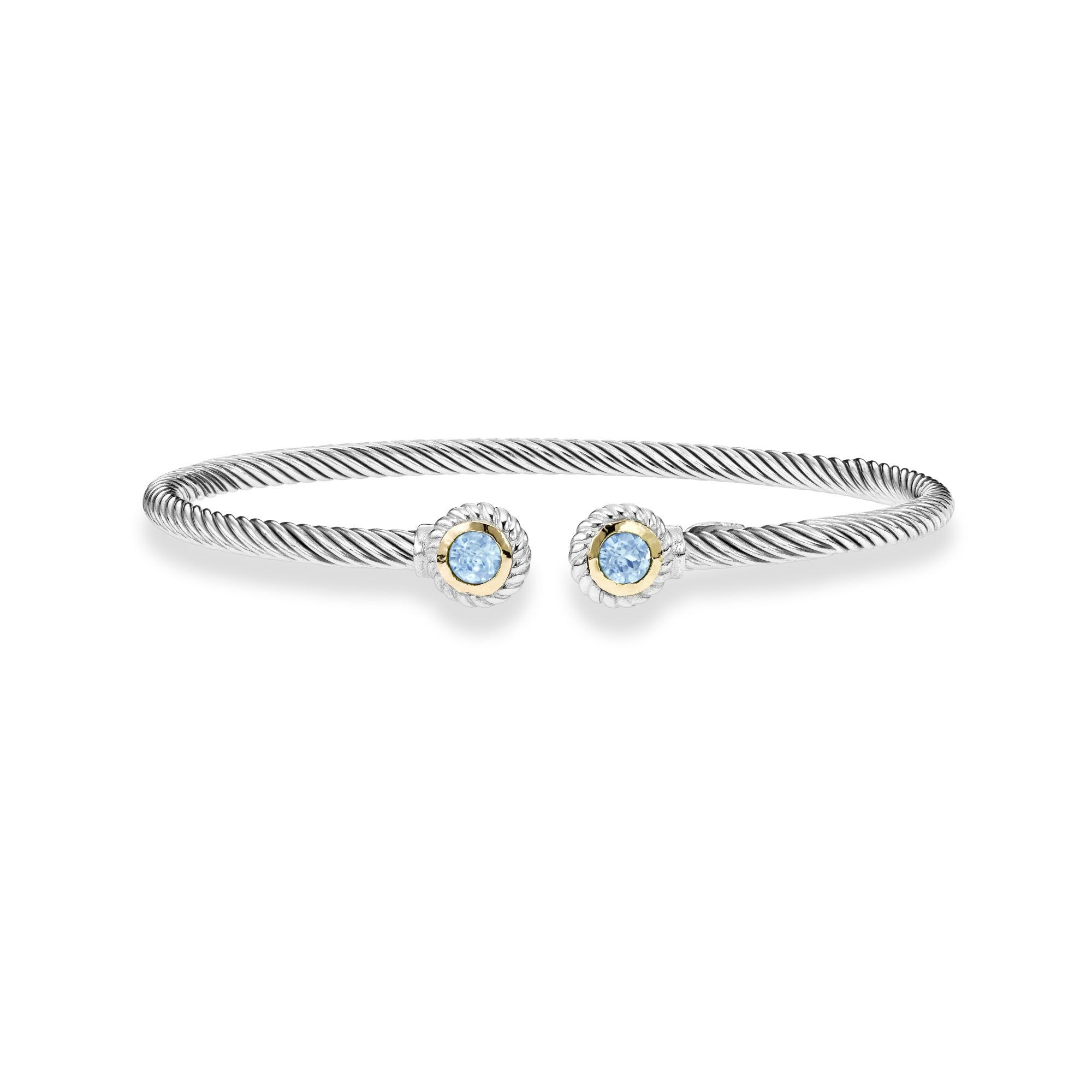 Blue Topaz Textured Cuff Bangle in Sterling Silver