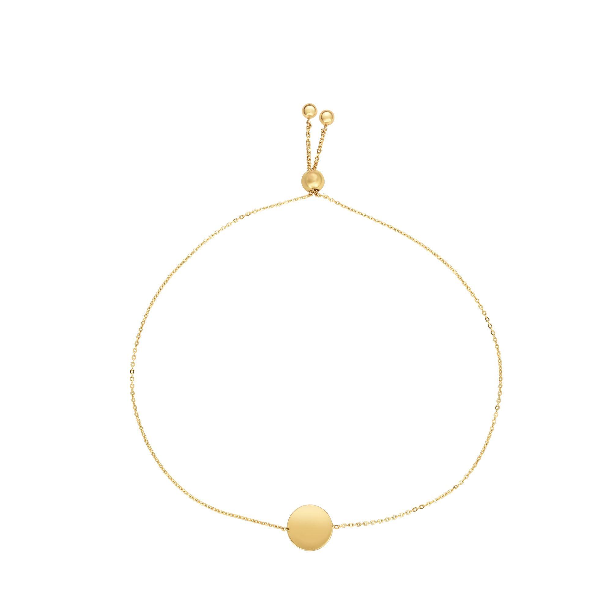 Circle Bolo Bracelet in 14k Yellow Gold