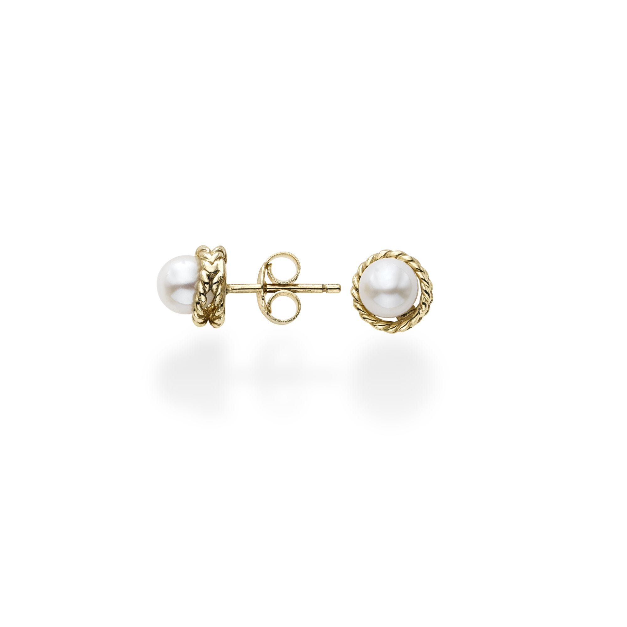Freshwater Pearl Studs in 14k Yellow Gold