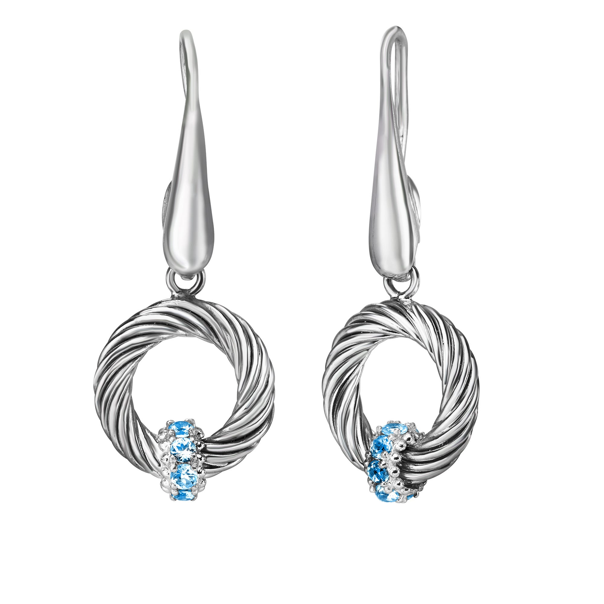 Blue Topaz Drop Earrings in Sterling Silver