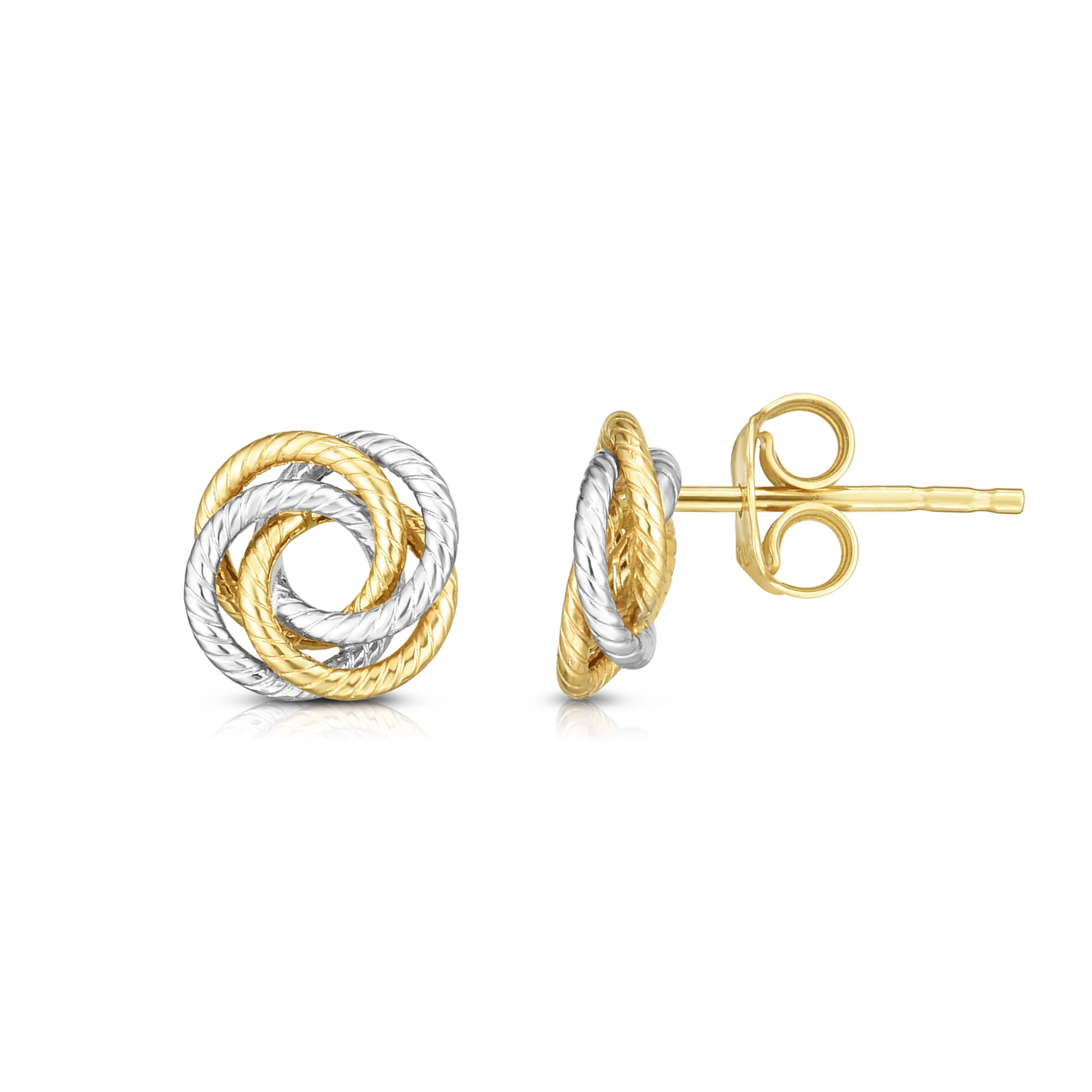 Knot Rope Stud Earrings in 14k Yellow & White Gold