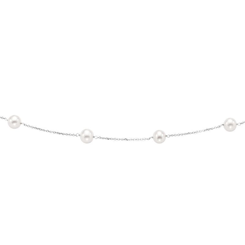 Pearl Necklace in 14k White Gold