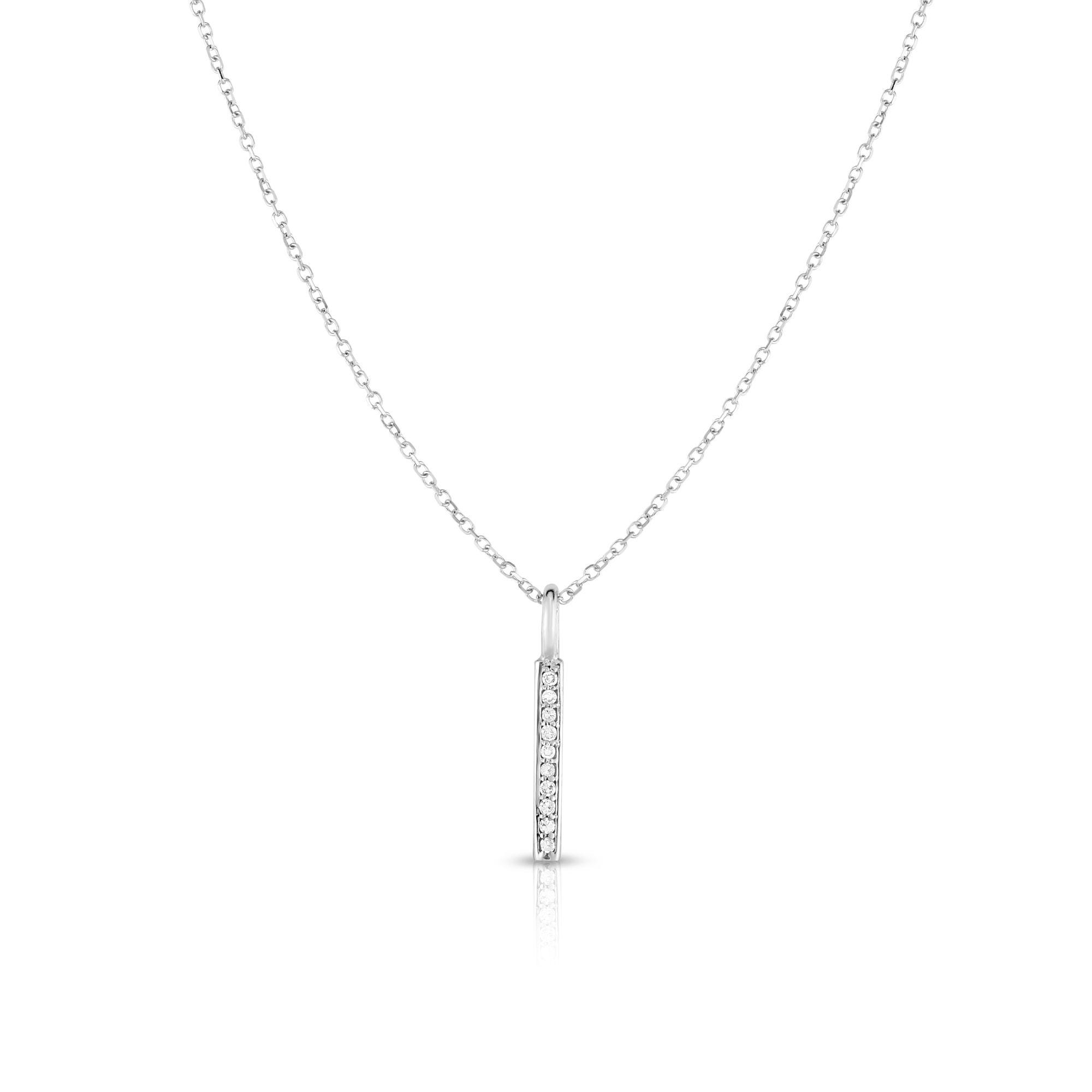 Diamond Vertical Bar Necklace in 14k White Gold