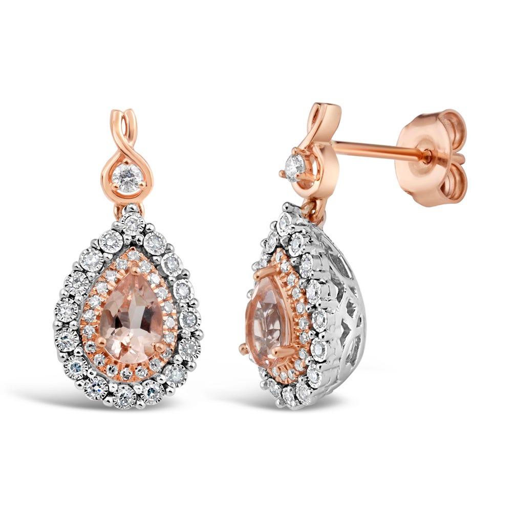 Pear-Shaped Morganite & Diamond Halo Drop Earrings in 10k White & Rose Gold