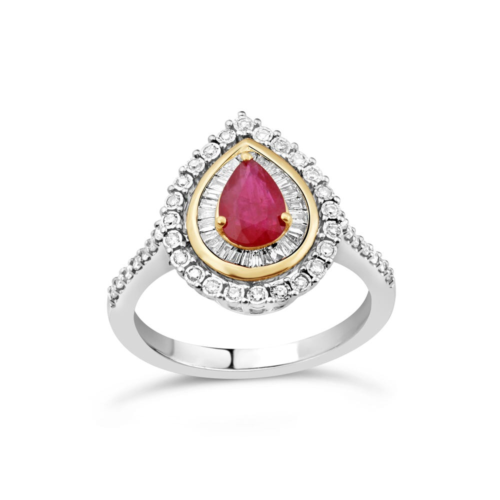 Pear-Shaped Ruby & Diamond Halo Ring in 10k White & Yellow Gold