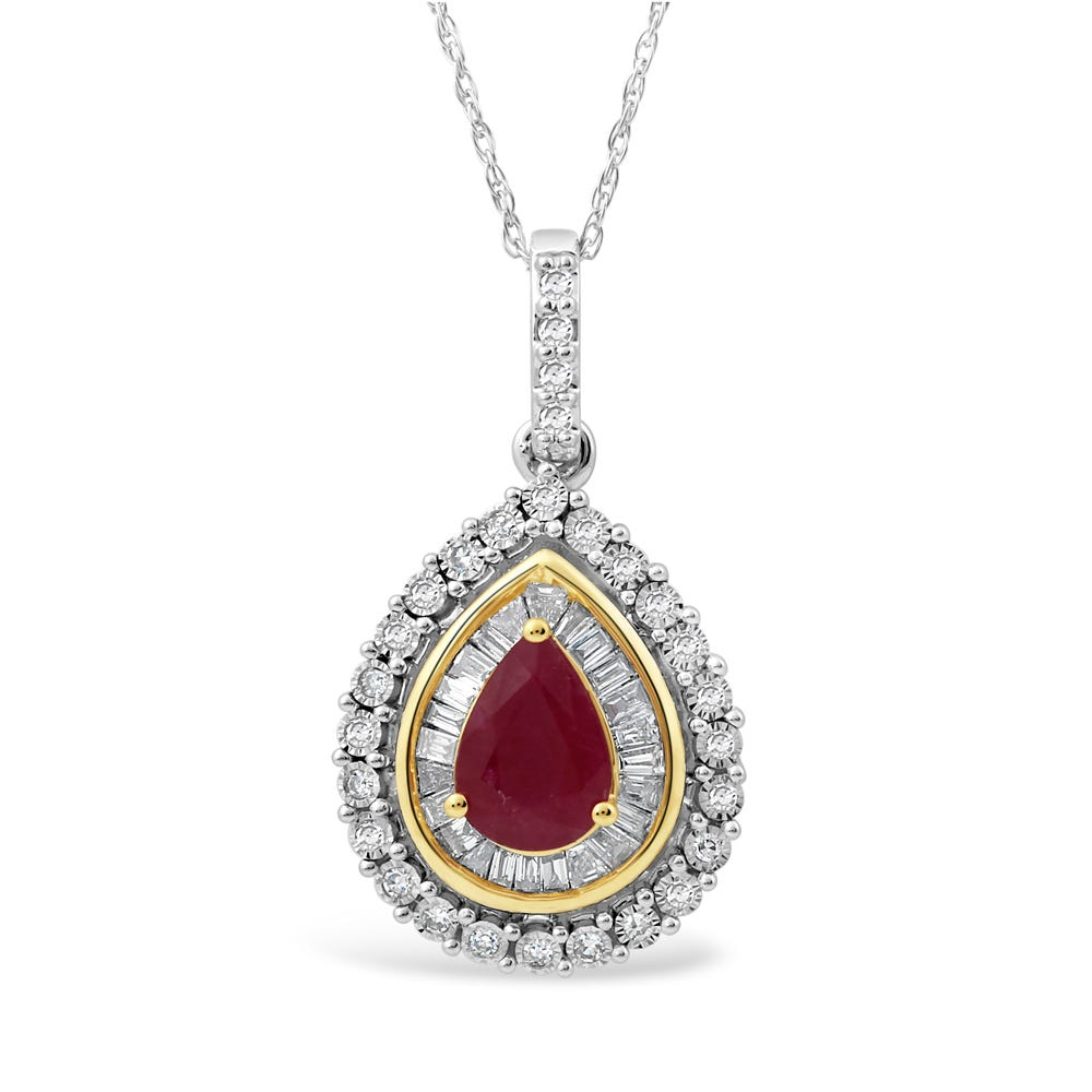 Pear-Shaped Ruby & Diamond Halo Pendant in 10k White & Yellow Gold