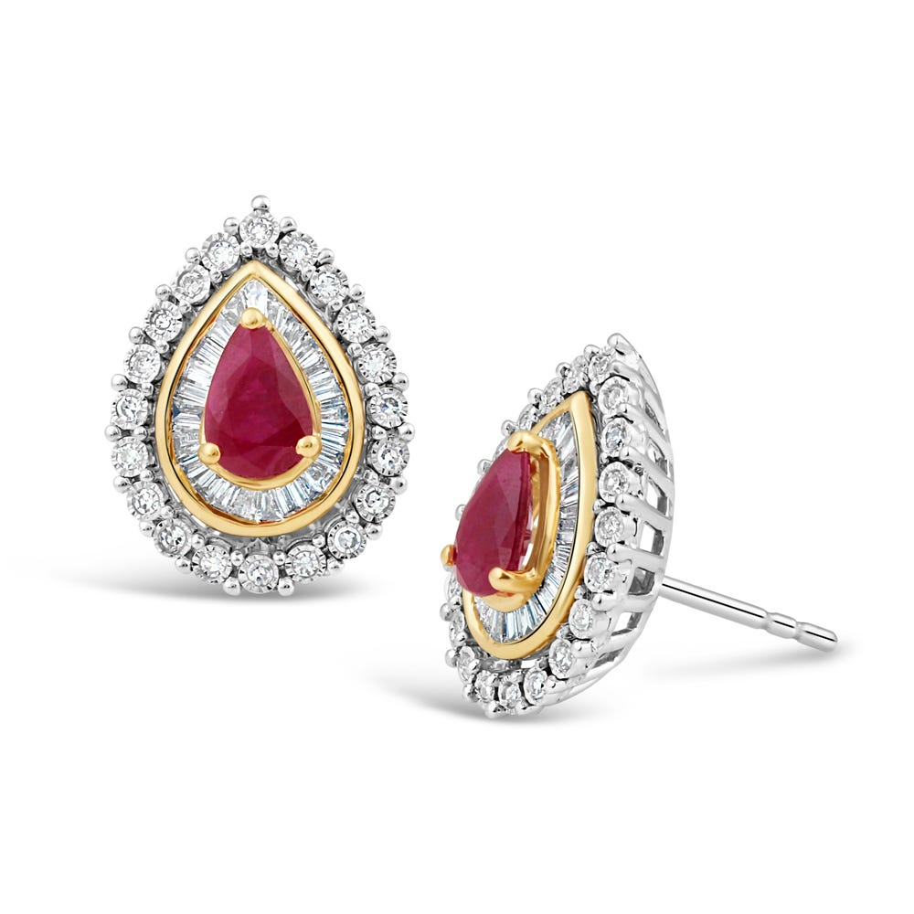 Pear-Shaped Ruby & Diamond Halo Stud Earrings in 10k White & Yellow Gold