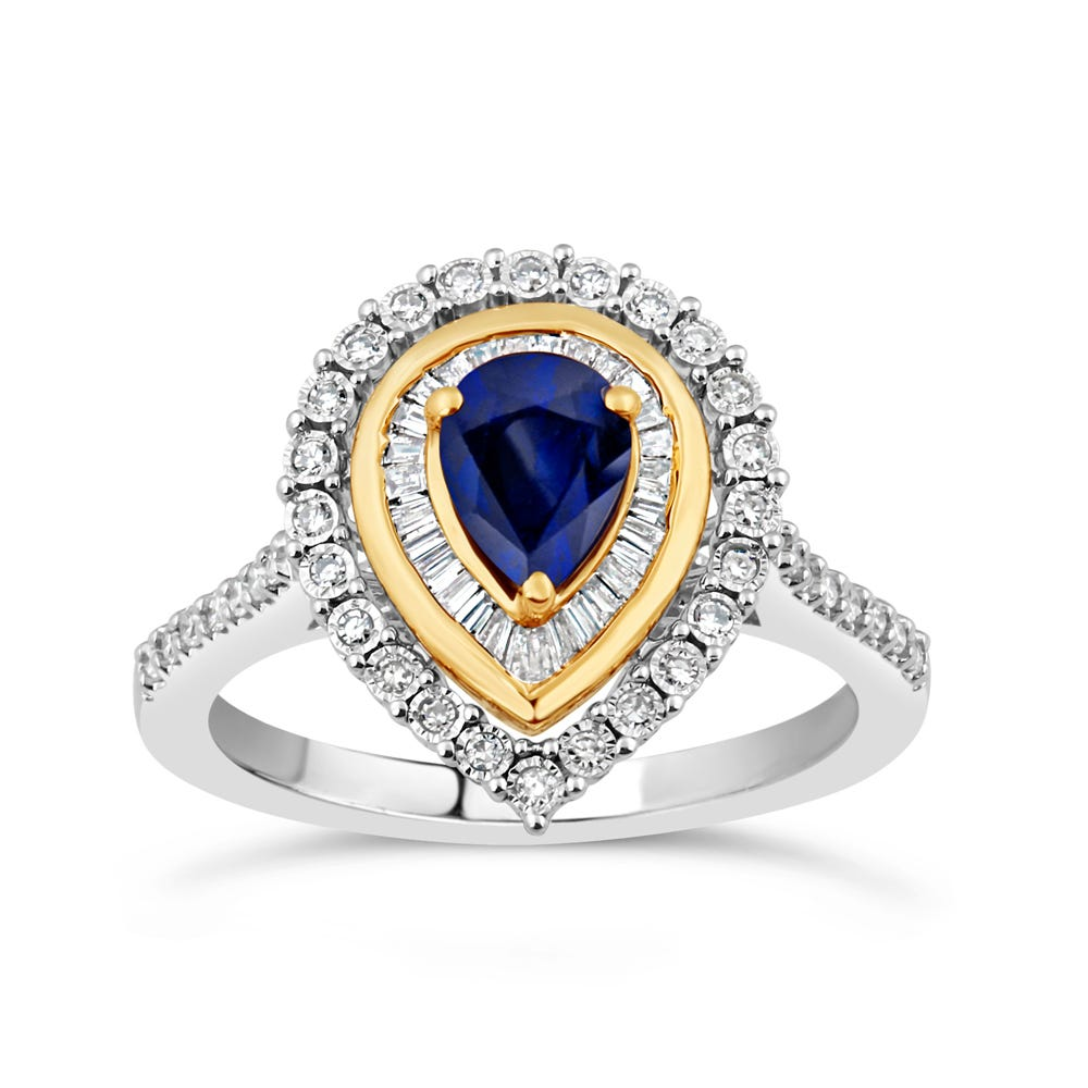 Pear-Shaped Sapphire & Diamond Halo Ring in 10k White & Yellow Gold