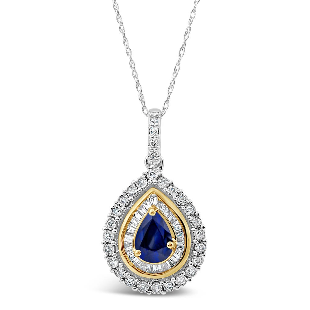 Pear-Shaped Sapphire & Diamond Halo Pendant in 10k White & Yellow Gold