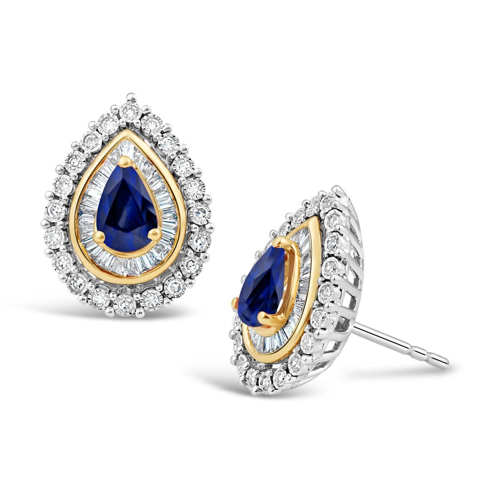 Pear-Shaped Sapphire & Diamond Halo Stud Earrings in 10k White & Yellow Gold