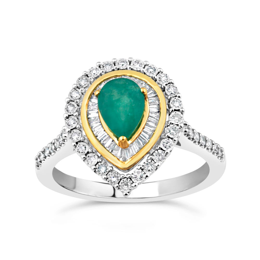 Pear-Shaped Emerald & Diamond Halo Ring in 10k White & Yellow Gold