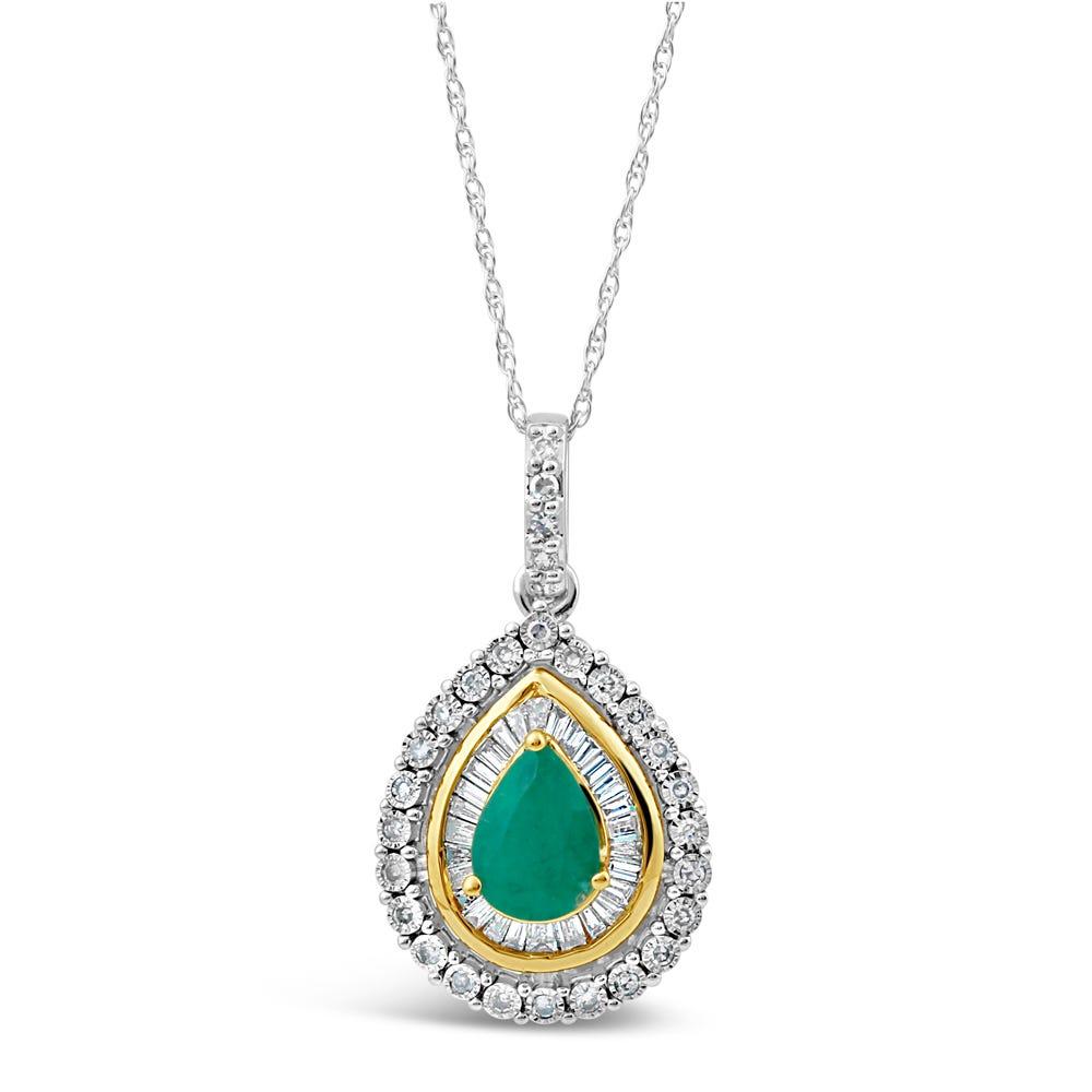Pear-Shaped Emerald & Diamond Halo Pendant in 10k White & Yellow Gold