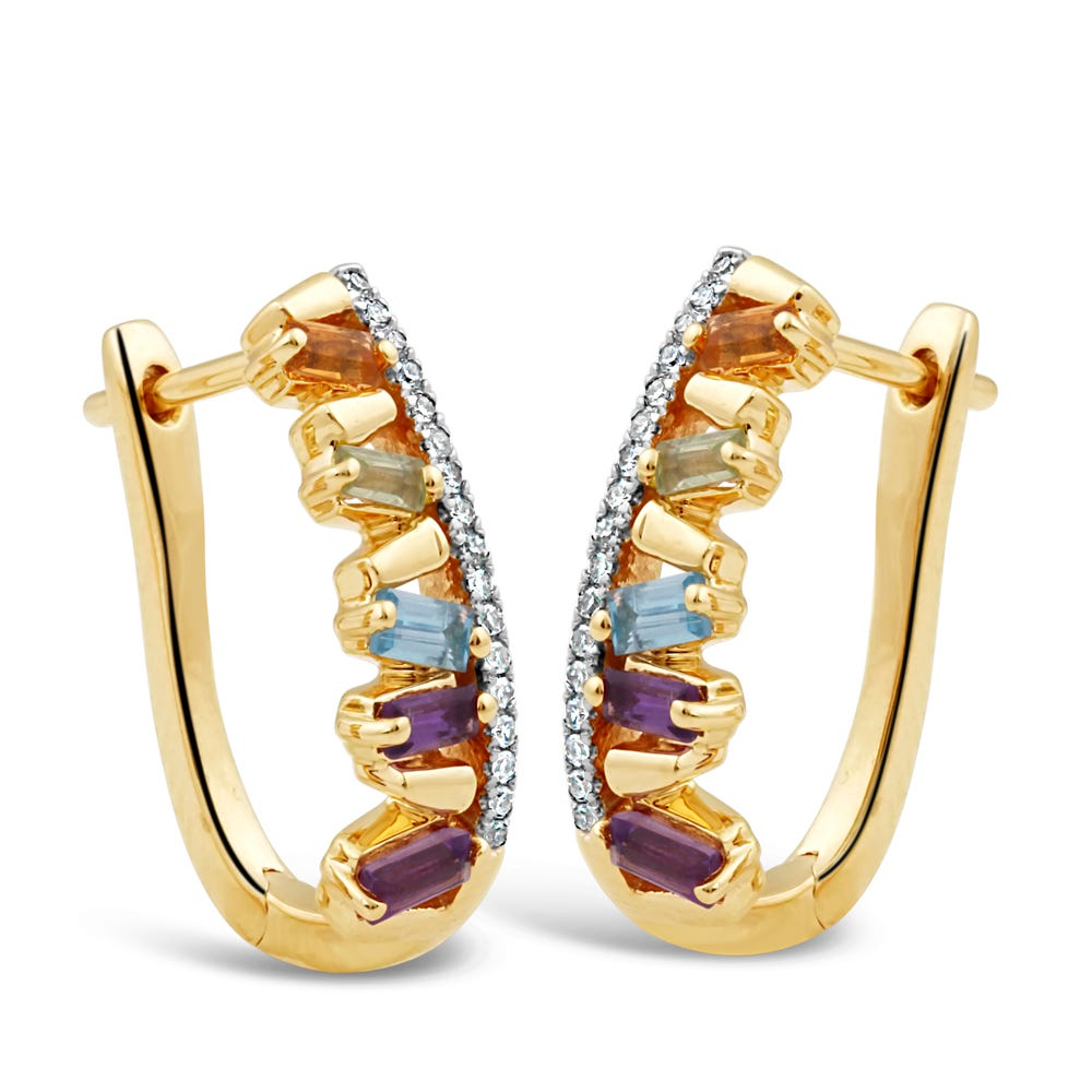 Rainbow Gemstone & Diamond Huggie Hoop Earrings in 10k Yellow Gold