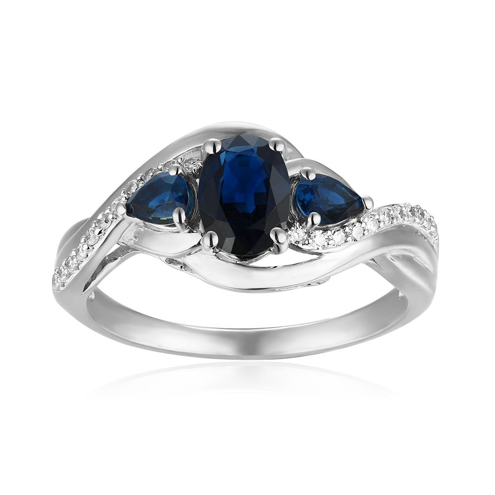 Oval Three-Stone Plus Blue Sapphire & Diamond Ring in 10k White Gold
