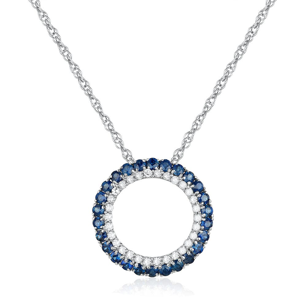 Round-Cut Sapphire & Diamond Circle Pendant in 10k White Gold