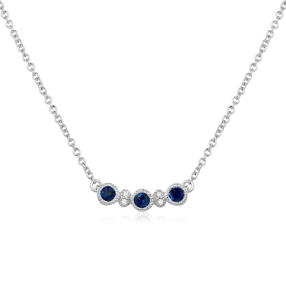 Round-Cut Sapphire & Diamond Pendant in 10k White Gold