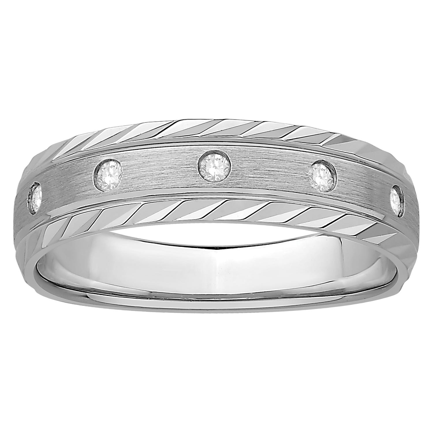 Drill-Set Round-Cut Diamond Gents Ring in 10kt White Gold
