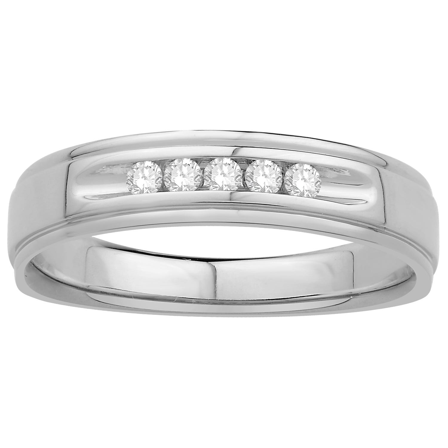 Round-Cut Diamond Gents Ring in 10kt White Gold
