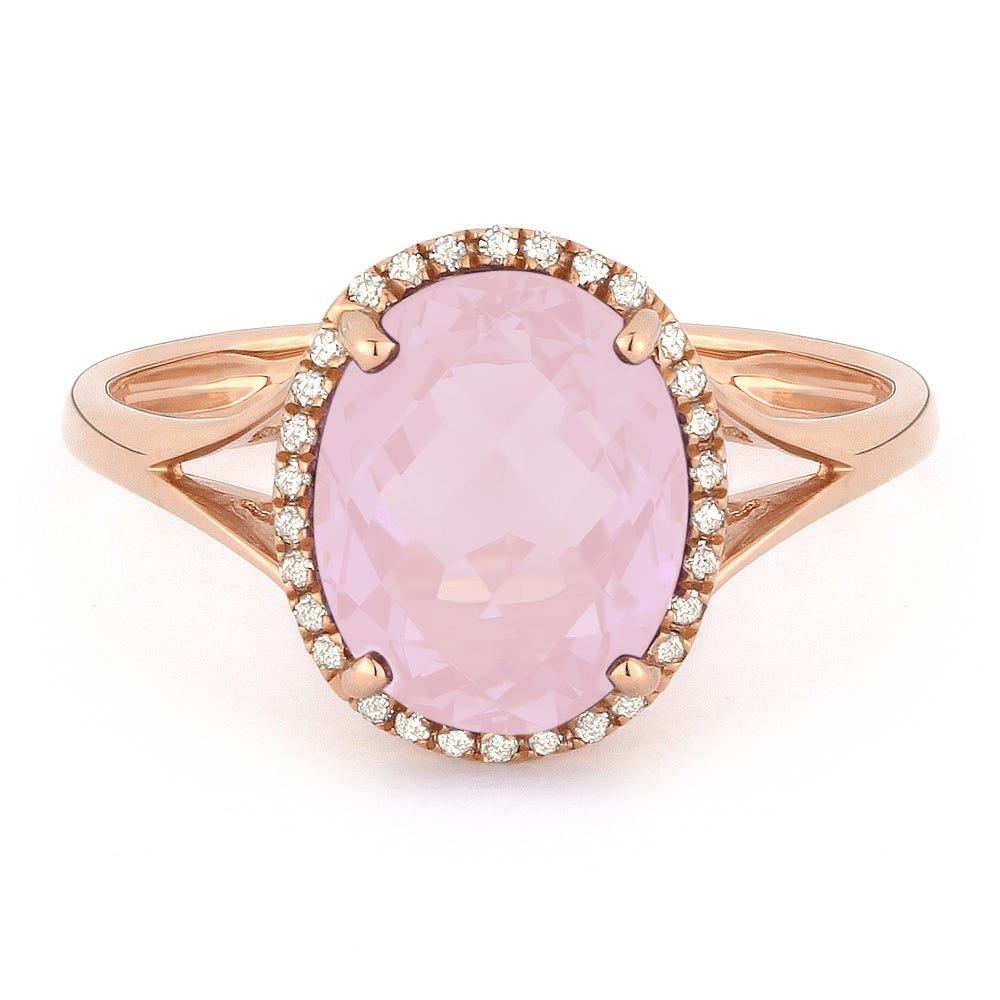 Tahiti Pink Created Oval Spinel & Diamond Ring in 14k Rose Gold