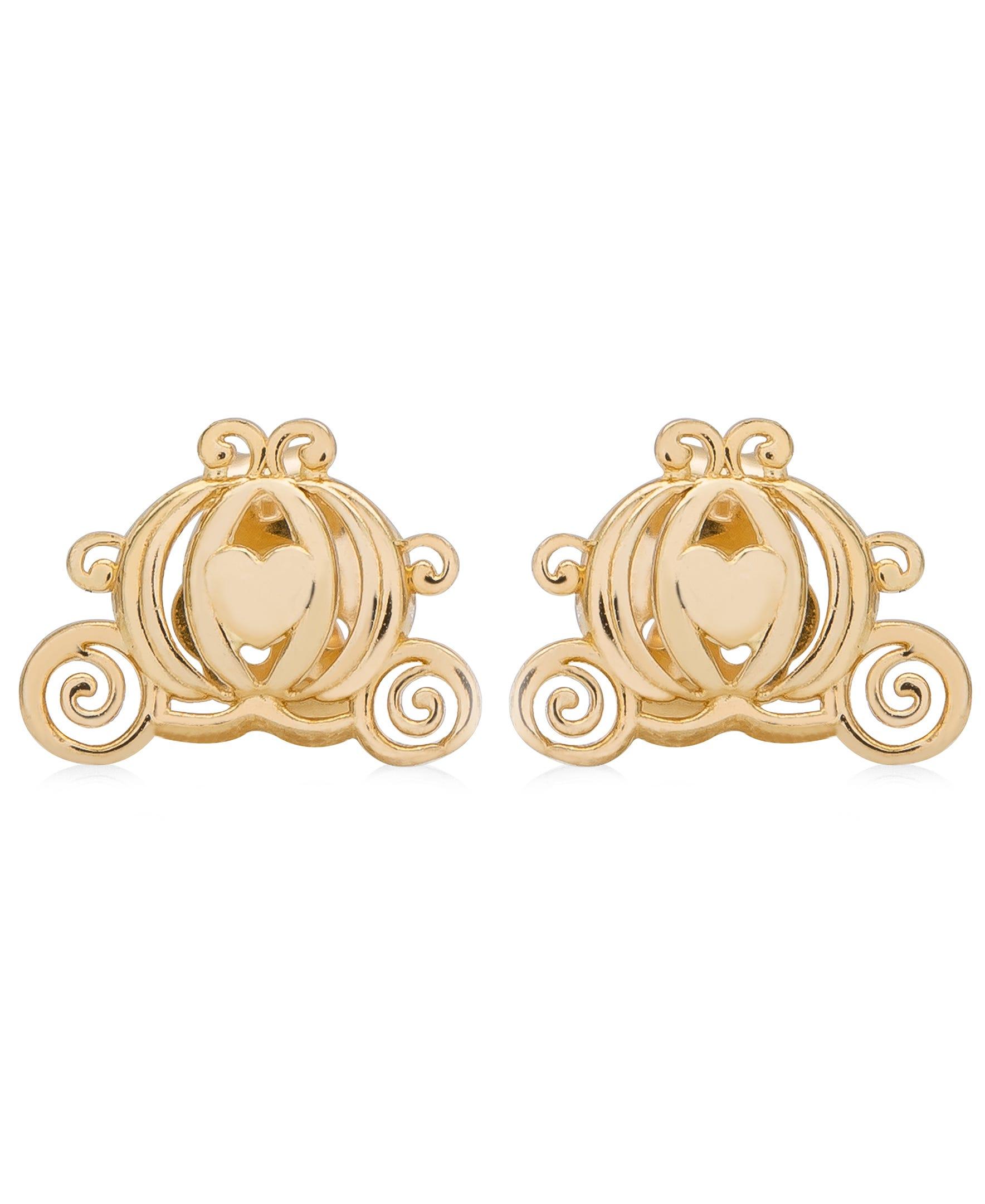 DISNEY© Cinderella Carriage Stud Earrings in 14k Yellow Gold