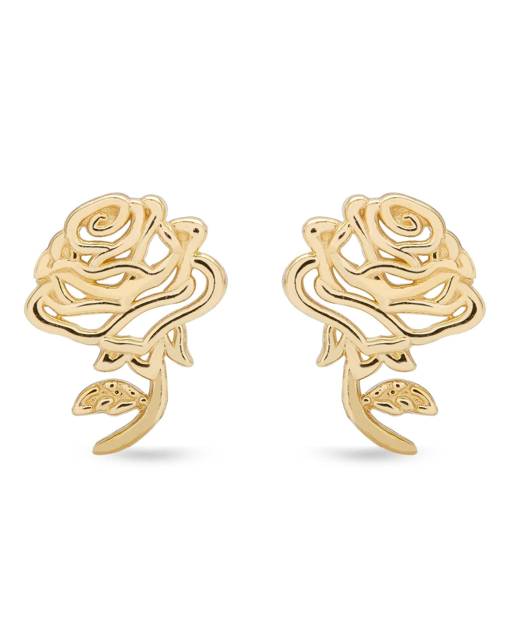 DISNEY© Belle Rose Stud Earrings in 14k Yellow Gold