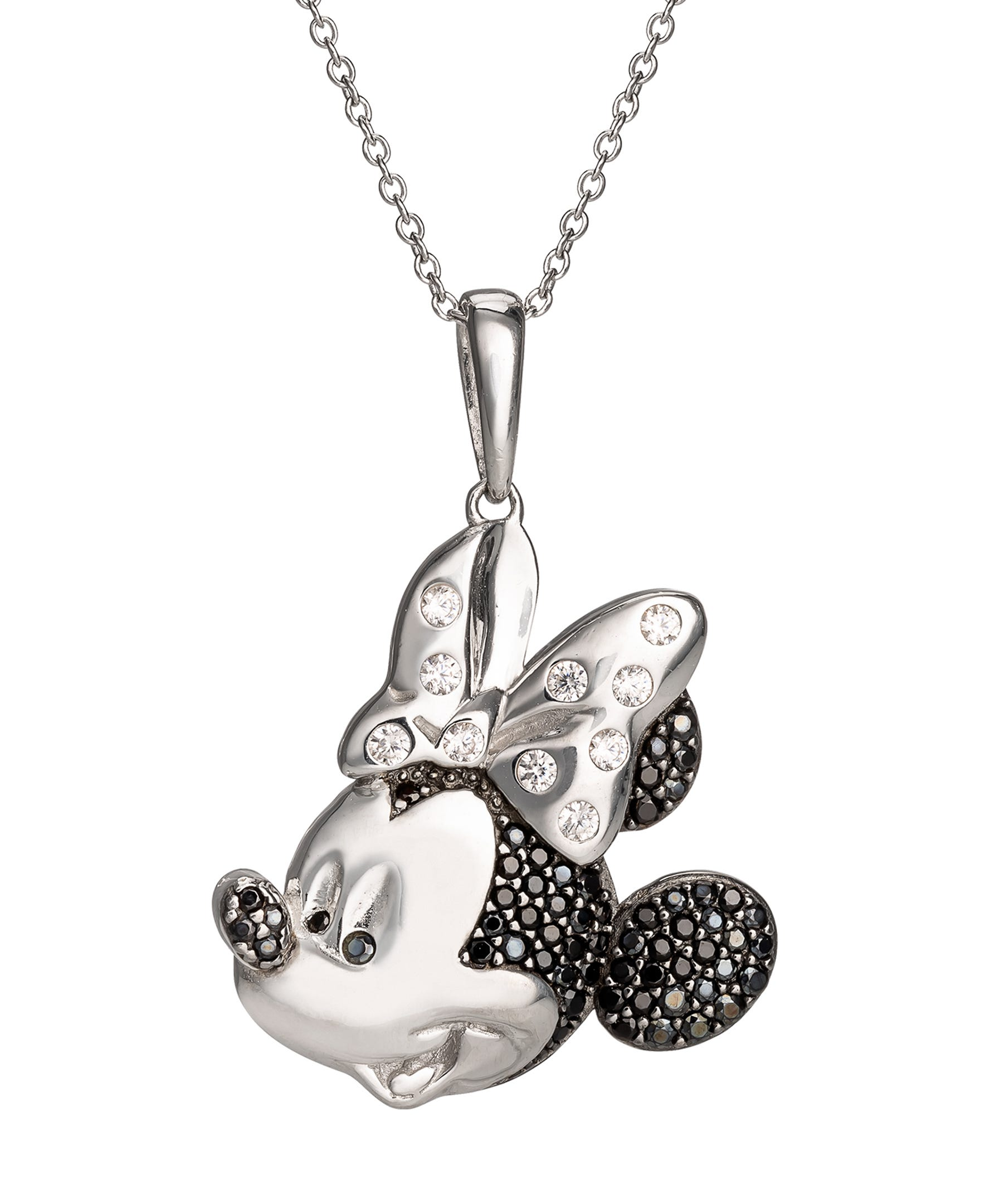DISNEY© Minnie Mouse CZ & Black Spinel Pendant in Sterling Silver