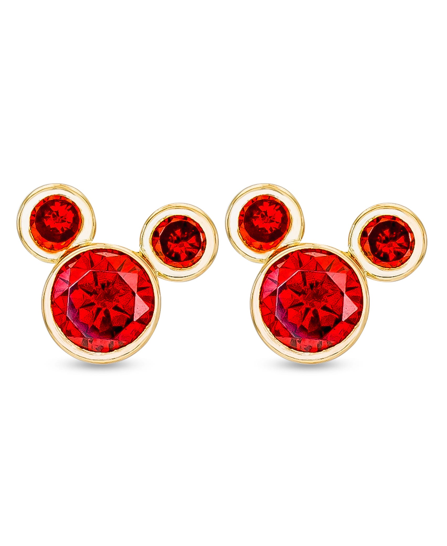 DISNEY© Mickey Mouse January Birthstone CZ Stud Earrings in 14k Yellow Gold