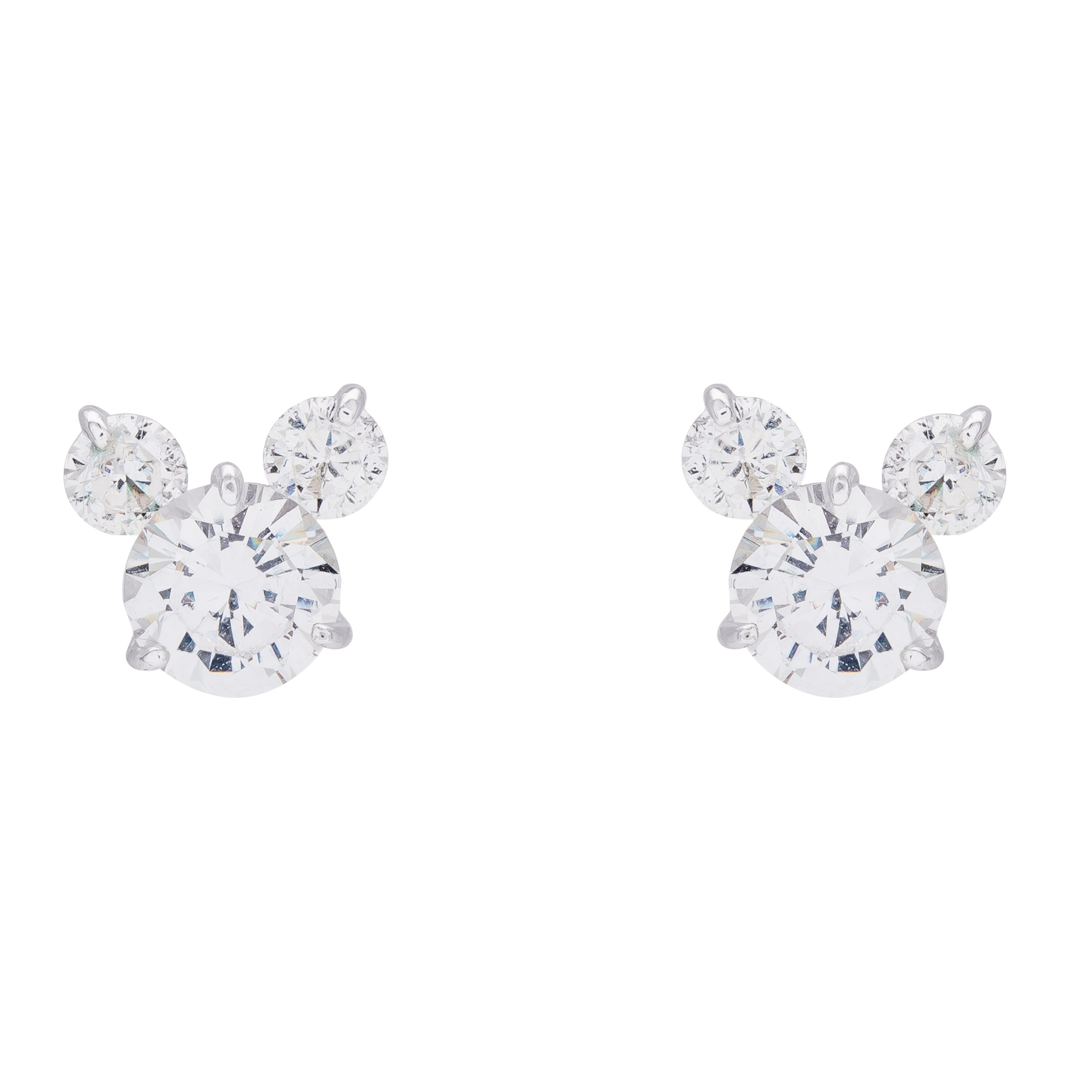 DISNEY© Mickey Mouse Silhouette CZ Stud Earrings in Sterling Silver