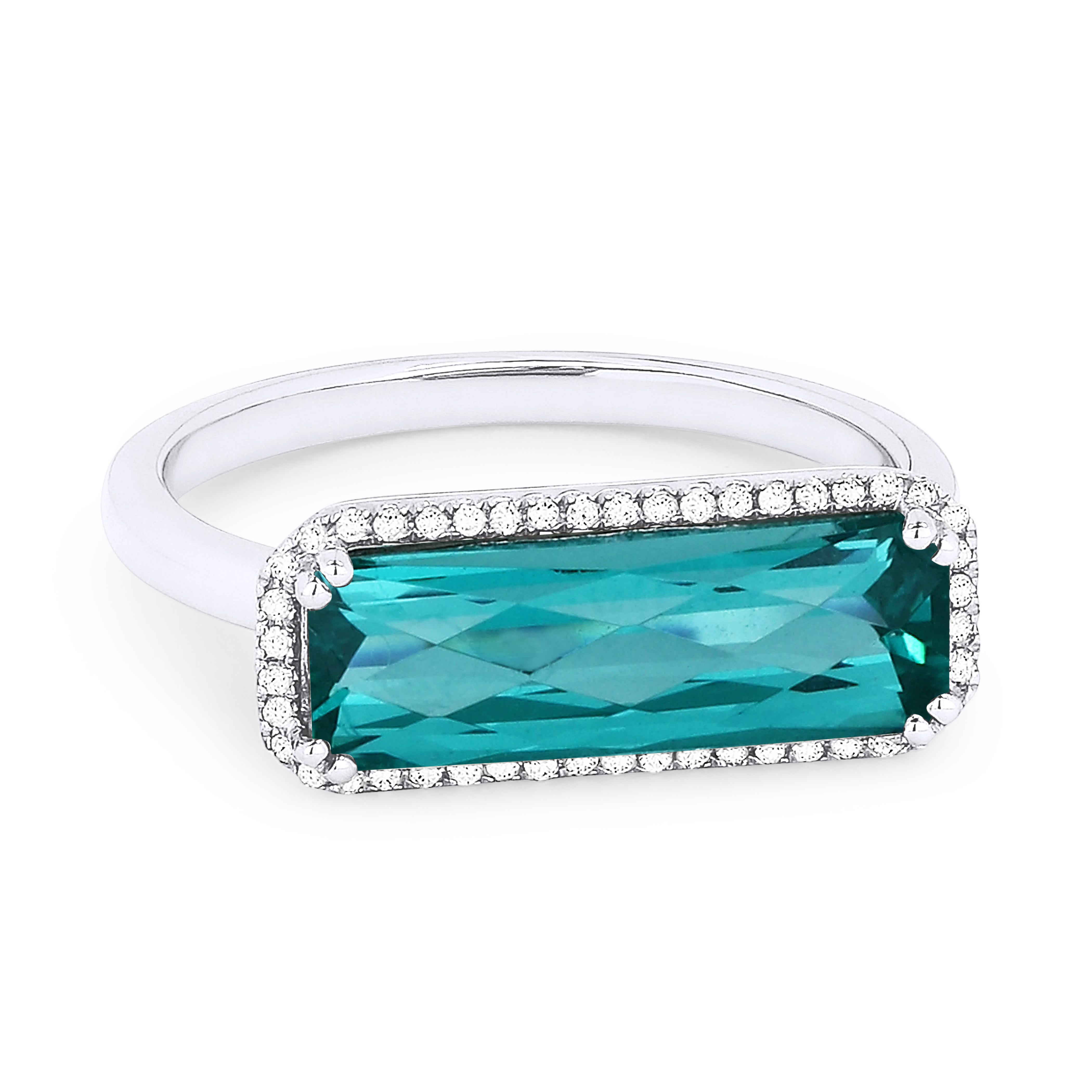 Fiji Blue Sideway Created Spinel & Diamond Ring in 14k White Gold