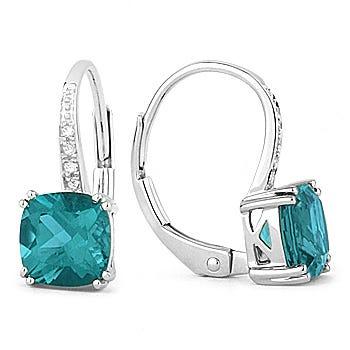 Fiji Blue Created Spinel & Diamond Drop Earrings in 14k White Gold