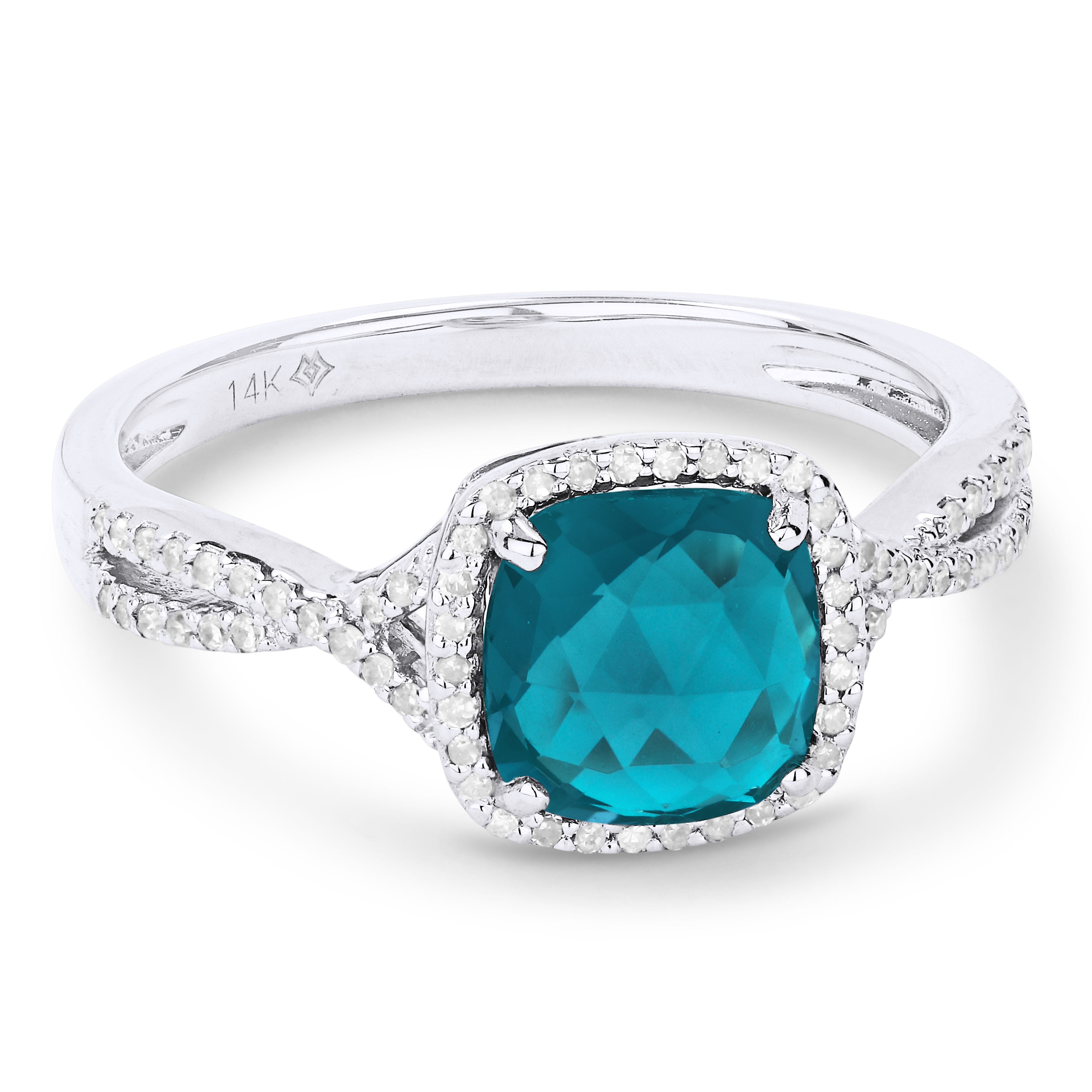 Fiji Blue Created Cushion-Cut Spinel & Diamond Ring in 14k White Gold
