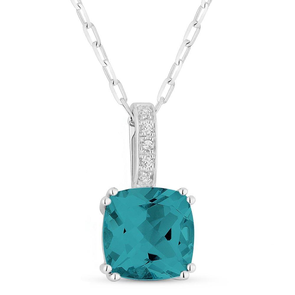Fiji Blue Created Oval Spinel & Diamond Pendant in 14k White Gold
