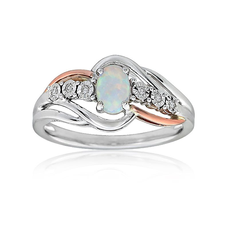 Oval Created Opal & Diamond Ring in 10k Two-Tone