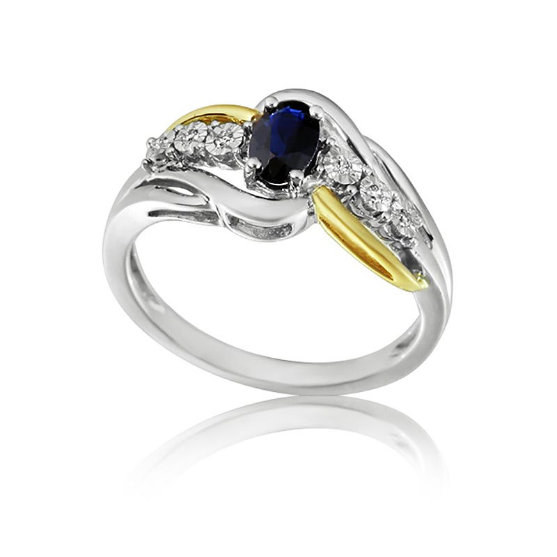 Oval Sapphire & Diamond Ring in 10k Two-Tone