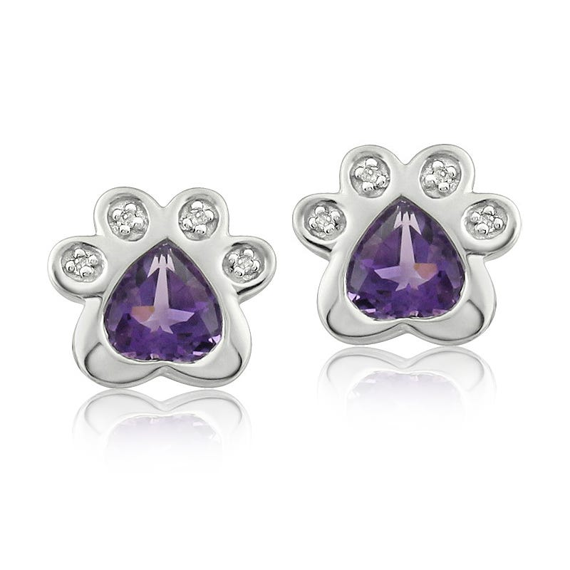 Amethyst & Diamond Paw Print Earrings in Sterling Silver