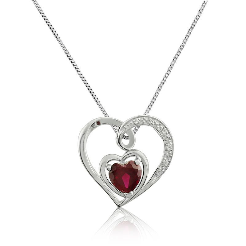 Ruby & White Sapphire Heart Pendant in Sterling Silver