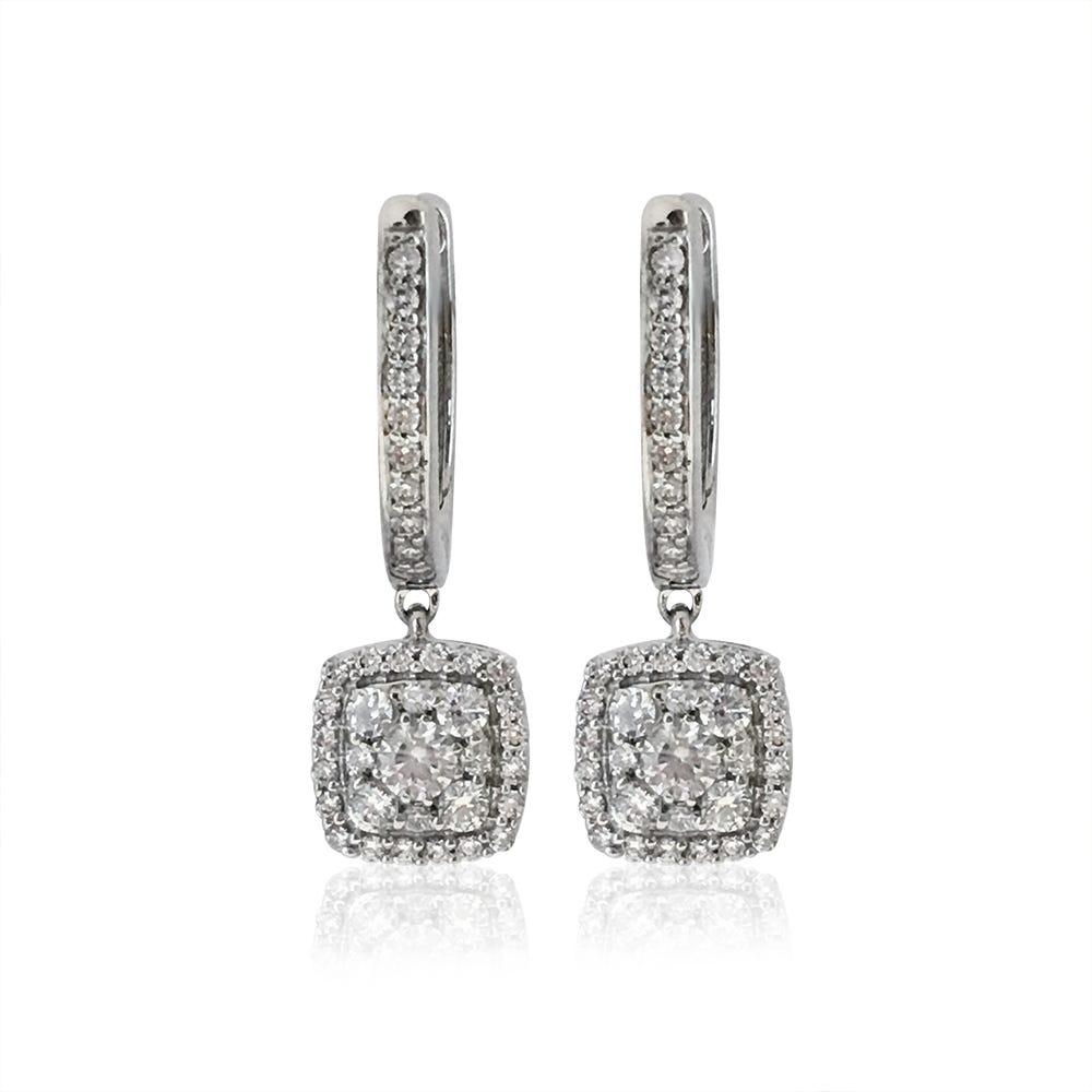 Cluster Dangle Diamond Earrings in 10k White Gold