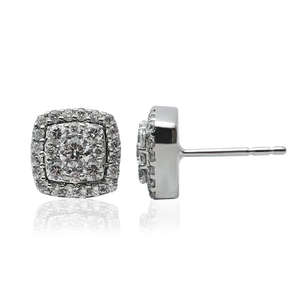 Cluster Stud Diamond Earrings in 10k White Gold