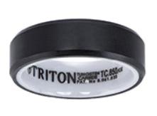 Triton RAW Black Beveled Edge 7mm Wedding Band with White Ceramic