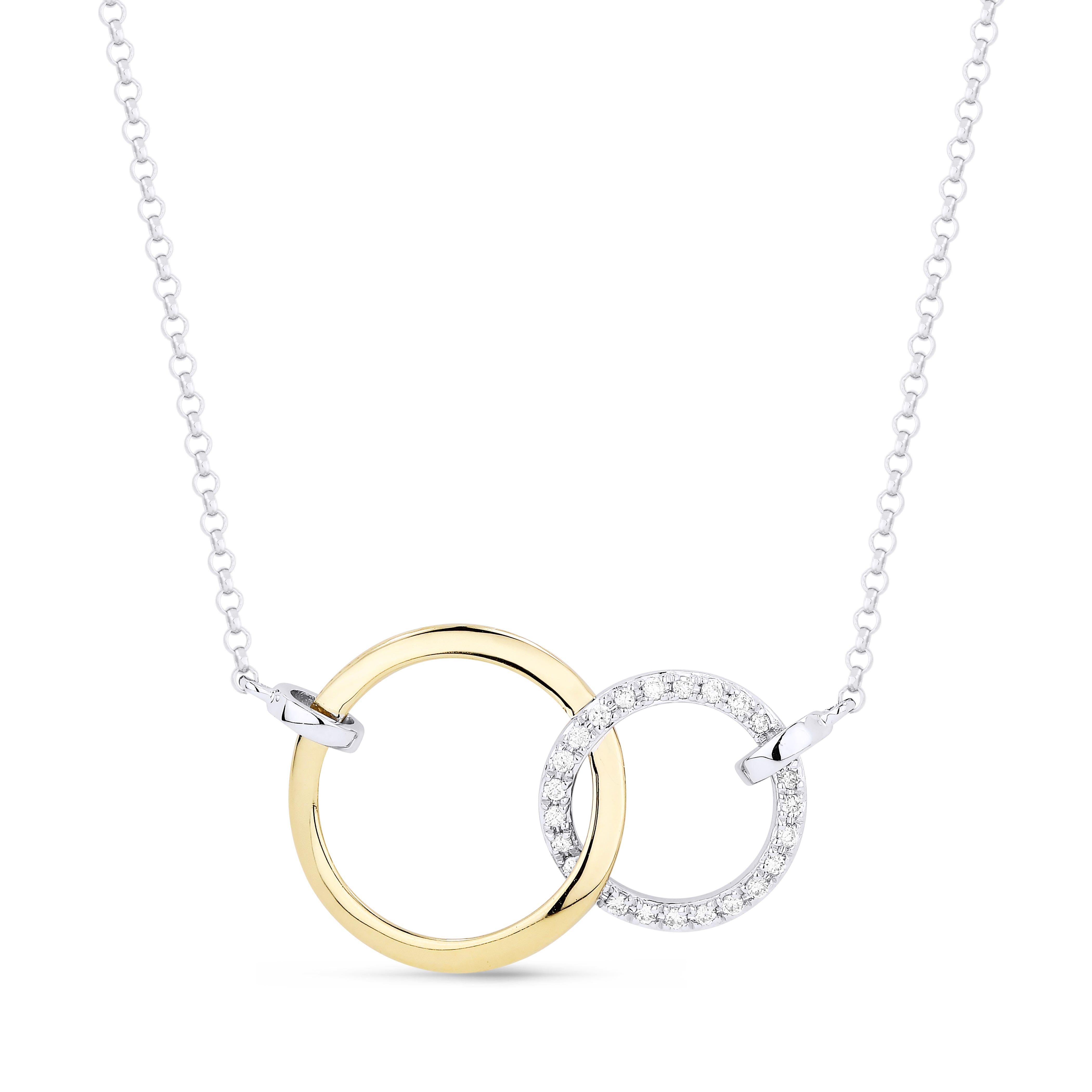 Diamond Circle Pendant in 14k Yellow & White Gold