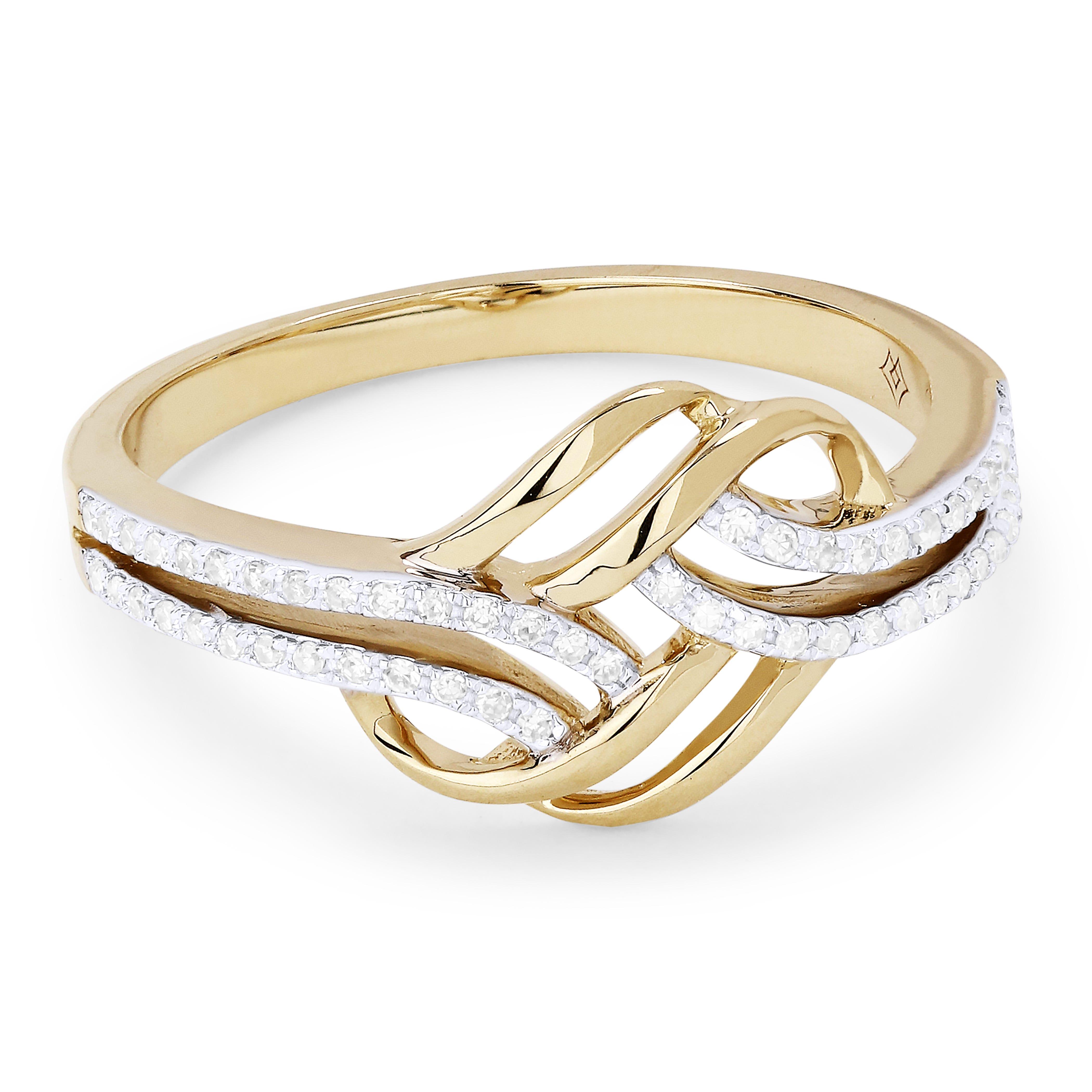 Diamond Swirl Fashion Ring in 14k Yellow Gold