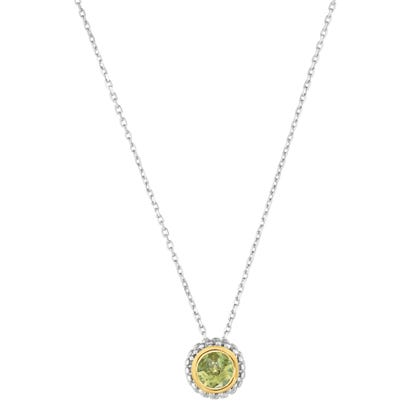 "Peridot Double Halo Pendant 18"" in Sterling Silver"