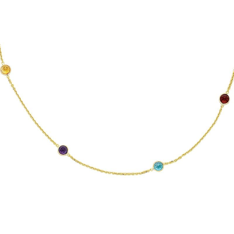Multi-Gemstone Circle Necklace 18