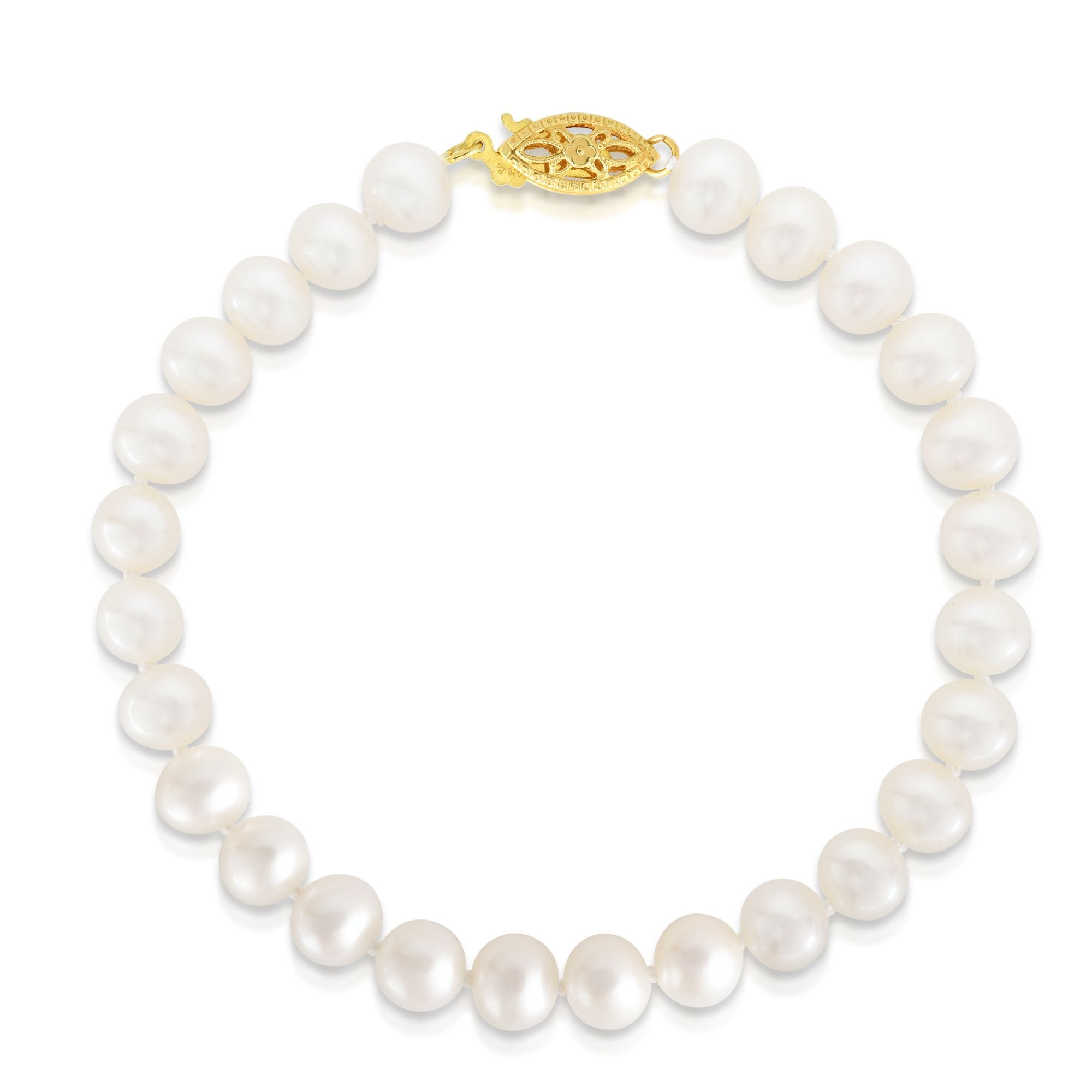 Pearl Bracelet 6.5mm in 14k Yellow Gold