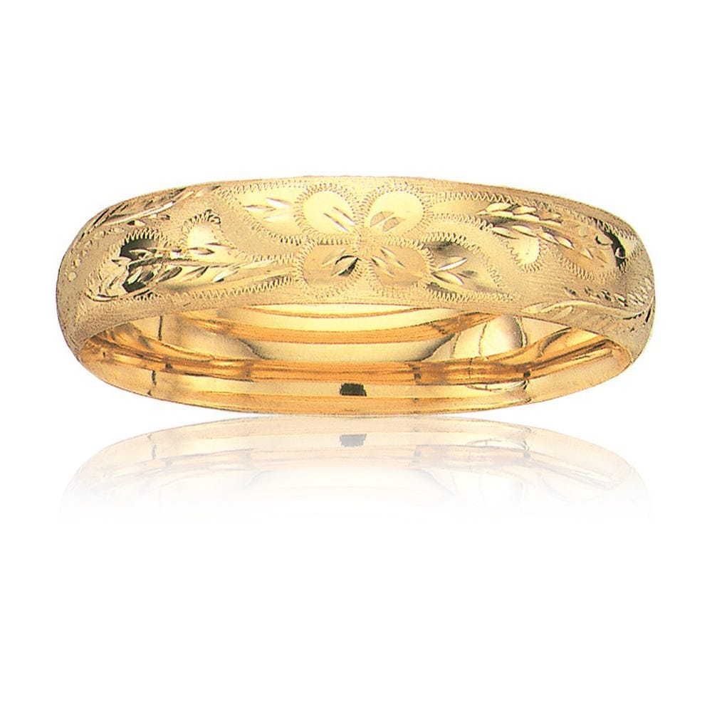 Florentine Classic Bangle 13.5mm in 14k Yellow Gold